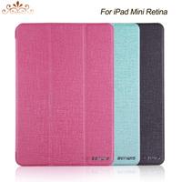 Crazy Horse leather 3 folder standing design PU Case For ipad mini retina 2 smart anti wake/sleep function