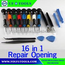 16 in 1 Repair Opening Precision Magnetic tips Screwdriver Tool Set Kit For iPhone 4 4S 5 Samsung Galaxy S3 S4 Glass Repair