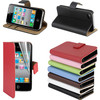 For iPhone 4 4S Real Leather case & credit card holder-mini slim thin flip wallet