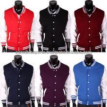 denim jacket with leather sleeve / denim varsity jacket / denim letterman jacket