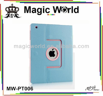 Cheapest pu leather case for ipad ,360 rotating leather case for ipad