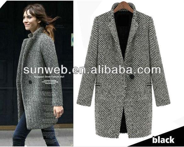 2014 New European Fashion women Winter Warm Lapel Overcoat Wool Cashmere Long Parka Coat Outwear ...