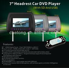 "Touch screen 7"" HD Digital Screen Car Headrest Monitor + DVD/USB/SD Player"