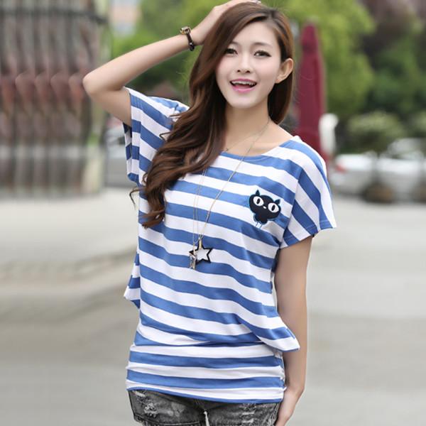 Cross Striped Ladies T Shirts Long Length Batwing