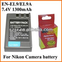 7.4v 1300 mAh batteria al litio ricaricabile en-el9/9a