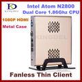 Тонкий клиент, мини PC без вентилятора, Intel Atom N2800 1.86GHz Dual Core, 4GB RAM, 32GB SSD, WiFi, 1080p HDMI, OС Windows 7