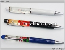Promotion gift custom liquid filled pen with 3D floating pen,floating liquid pen