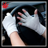 White leather car driving fingerless gloves women unlined