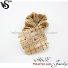 Ultra Stretchy Square Shape Cellulose Acetate Decoration Rhinestone Studded Plaid Pattern Lint Wrapped Hair Tie