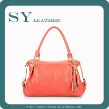 Big Promtion New Fashion Ladies Big 100% Soft Genuine Leather Tassel Bags