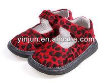 rojo leopardo de impresión de patrón de velcro de las señoras zapatos de la escuela