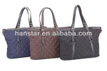 2014 New Korean Style Women Nylon PU Leather Tote Bag