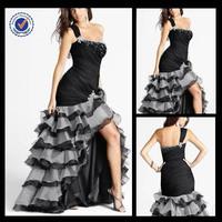 P0096 Short Front Long Back Mermaid Style One-shoulder Prom Dresses