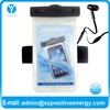 Transparent PVC waterproof bag for Quad Core mobile phone with velcro armband