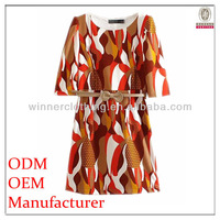2014 new fashion casual OEM half sleeve round neck beautiful print latest dress designs pictures
