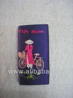 Flower embroidery purse purple