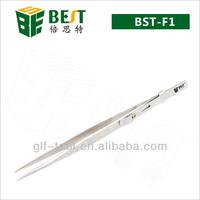 Best-F1 stainless steel non magnetic 165mm locking tweezer Jewelry tweezers