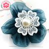 Y29 Handmade hot glue pearl organza rose lace flower