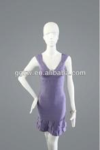latest style light purple A-line bandage dress,foxy v-neck evening dress,leg opening cocktail dress bandage
