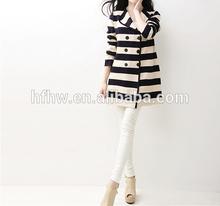 2014 Winter new Korean striped knit long coat lapel double-breasted coat jacket women
