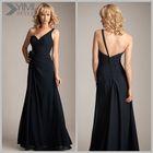 (BD3183) Yimi Style One Shouder Flower A Line Chiffon Navy Blue Plus Size Bridesmaid Dresses