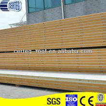 100mm espesor de aislamiento de construcción de materiales de construcción de la pu sandwich panel de cuarto frío precio