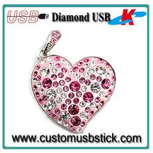 gorgeous jewelry diamond heart usb flash drive 16gb
