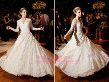 nueva llegada vestido de novia de alta 2014 cuello de encaje pura manga larga cuello vestido de boda de tribunal tren hecho en china alibaba bo3590