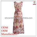 moda feminina sem mangas impressão slim maxi vestidos longos spandex