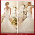 Ywd11021 de lujo escarpado de la manga casquillo del tren del barrido de encaje cubierto precio venta al por mayor de la boda vestido de la muestra verdadera representa