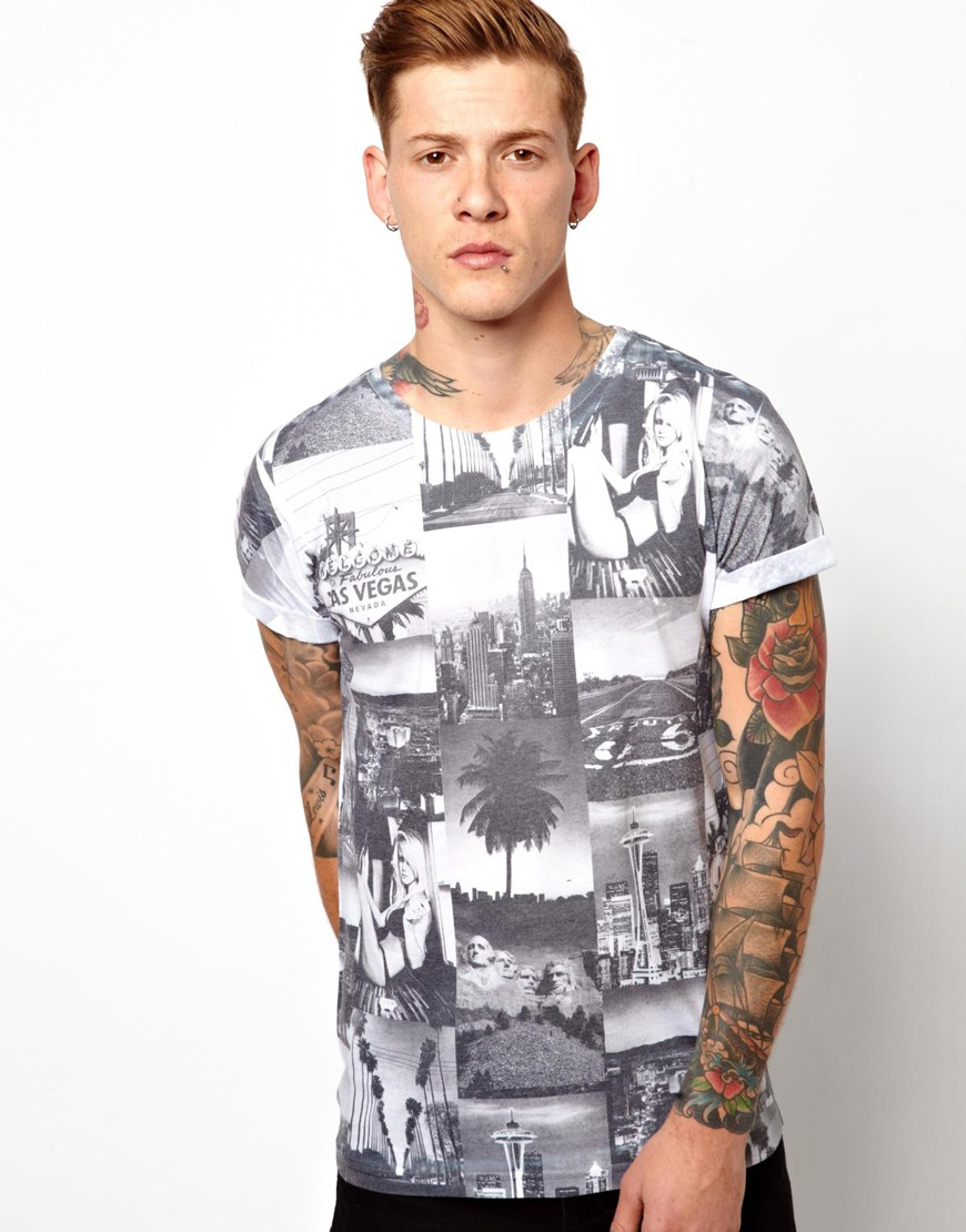 full photo print stretch cotton t shirt
