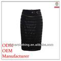 2014 marca de moda feminina de alta qualidade de lápis preto longo de cetim saias longas
