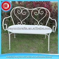 Newest white two seat leisure metal garden bench