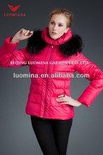 2014 new arrival black fur jacket/bright pink jacket for women
