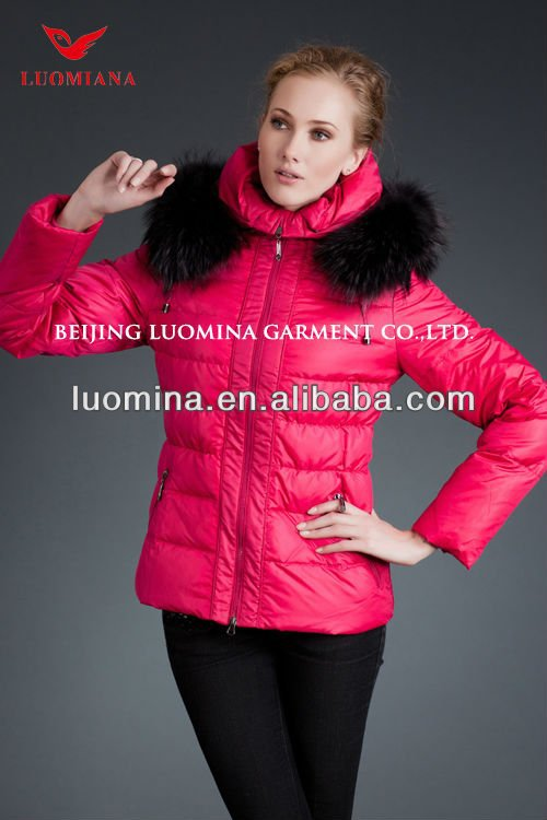 2014 new arrival black fur jacket/bright pink jacket for women