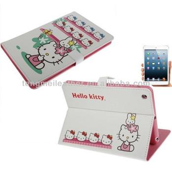 Cute case for ipad mini ,hello kitty leather case for ipad mini