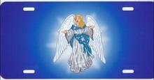 Angel on Blue Centered License Plate