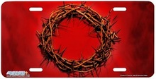 Crown of Thorns on Red Airbrush License Plate