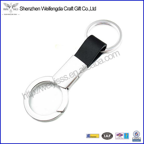 Dual-keyrings Overlap Innovative Design Leather Car Custom Keychain