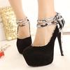 Fashion Snake PU Lace-up High Heel Lady Dress Shoes TW-HL0310