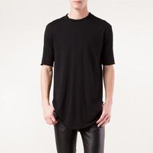 wholesale mens plain long length t-shirts raw edge trimming