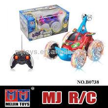 Meijin mini rc car 4 CH plastic rc stunt car musical flash rc tumbler stunt car racing toy