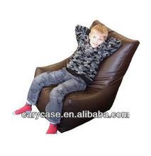 faux leather brown L shape kids bean bag chairs