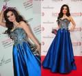 Lst-039 querido laço de tafetá bola vestido de noite azul royal vestido