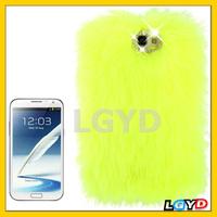New arrival Soft Diamond Encrusted Winter Warm Fur Plastic Case for Samsung Galaxy Note II / N7100