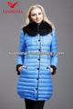 卸売の女の子のロングダウンコート/光沢のあるブルーのコート
