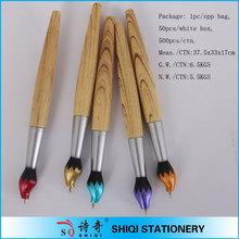 unique design brush pen shape wooden ballpoint pen