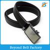 Beyond Black Solid Split Leather Ratchet Belt with Plain Slide Buckle 35mm Wide 145cm Long