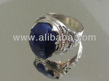 Men's silver Sapphire ring, natural gemstone