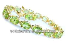 1960 moda grosso oro 14k ovale peridoto braccialetto